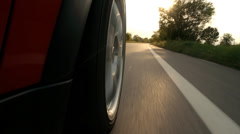 Car driving wheel pov close up Stock Footage