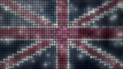 United Kingdom flag glitter light transition - 1080p Stock Footage