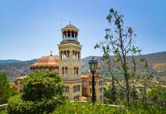 Church Agios Nectarios on island Aegina, Greece - stock photo