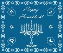 Chanukah holiday background with dreidels and khanukiyah, vector illustration Stock Illustration