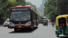 Oncoming Traffic on Street in Delhi Stock Footage