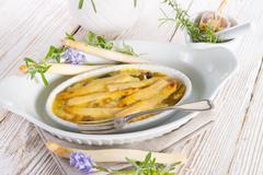 Asparagus leek casserole Stock Photos