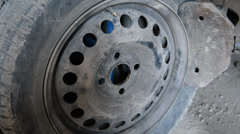 Tire automobile wheel. Puncture, seasonal work. - stock footage