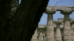 Revealing an Ancient Greek Temple from behind a Tree - 25FPS PAL Stock Footage