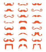 Ginger moustache or mustache vector icons set - stock illustration
