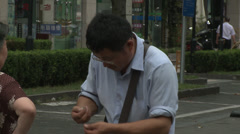 Counting money.  Man and paying a woman Stock Footage