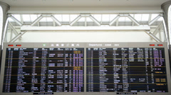 Flight information board of a Narita airport Stock Footage
