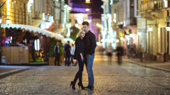 6K (!!!) & 4K & HD. The couple at the night city street. RAW video output. Stock Footage