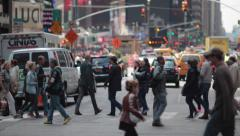Crowd walking crossing street in New York City 4k Stock Footage