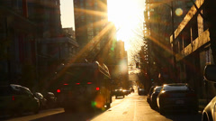 Golden hour sunset at downtown Vancouver street Stock Footage