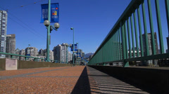 Very low angle - dolly shot cambie bridge Stock Footage
