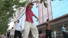 Group Tai Chi in Park Stock Footage