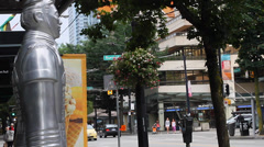 Terracotta statue on robson st vancouver Stock Footage