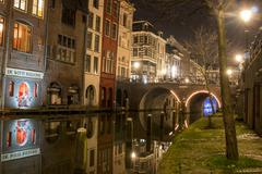 Utrecht Gracht Night Stock Photos