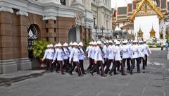 Thailand, Bangkok, Thai Royal Guards in the Grand Palace Stock Footage