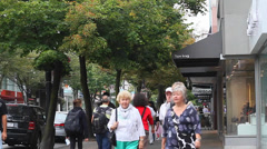 Robson st - people walking Stock Footage