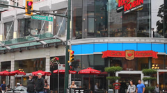 2 angles - robson st weekend Stock Footage