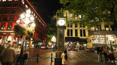 Evening - gastown clock on the hour Stock Footage