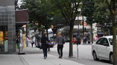 people walking robson st - stock footage