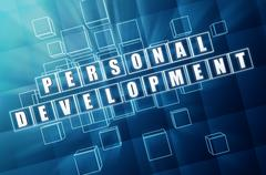 Stock Illustration of personal development in blue glass cubes