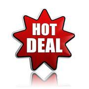 hot deal in red star banner - stock illustration