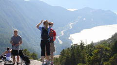 Some hikers at the top of stawamus chief Stock Footage