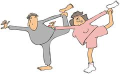 Man and woman stretching - stock illustration