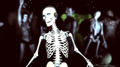 Dancing Skeleton (with monsters; strobe light) Stock Footage