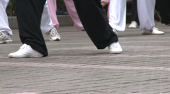 Man does Tai Chi in Park 3 Stock Footage