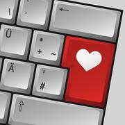 "computer keyboard ""love"" - stock illustration"