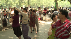 Big dance class in park Stock Footage