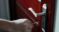 Internal Door Unlock and Open Stock Footage
