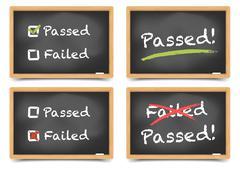 Pass fail blackboard Stock Illustration