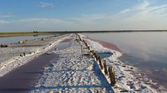 landscape of salt extraction - stock photo
