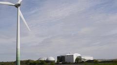 Wind turbine and biogas plant Stock Footage