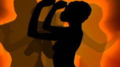 Sexy dancers silhouettes with volume lights. Stock Footage
