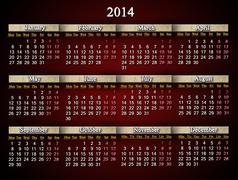 Stock Illustration of claret and unusual calendar for 2014 year