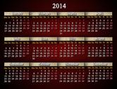 Claret and unusual calendar for 2014 year Stock Illustration