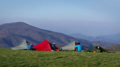 Mountain Top Summit Tent Camping on the Appalachian Hiking Trail - stock footage