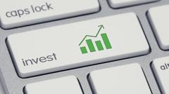 Invest Keyboard Button Green Barchart icon Stock Illustration