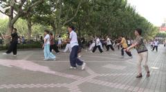 Large crowd doing Tai Chi Stock Footage