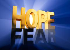 hope vanquishes fear - stock illustration