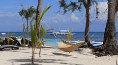 Tropical beach, perfect place for relaxing in island Malapascua, Philippines Stock Footage