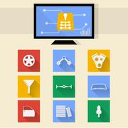 flat icons for auto repair - stock illustration