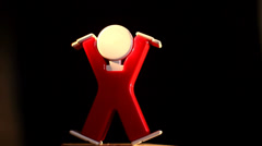 Retro toy acrobat Stock Footage