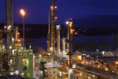 Oil Refinery Night Shift Energy - stock photo