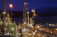 Stock Photo of Oil Refinery Night Shift Energy