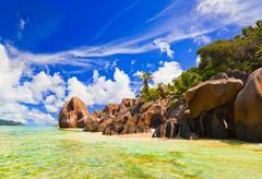 Beach Source d'Argent at Seychelles - stock photo