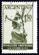 Postage stamp Argentina 1955 Argentina Breaking Chains, Allegory - stock photo