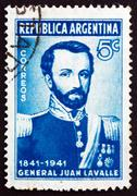 Postage stamp Argentina 1941 General Juan Galo de Lavalle - stock photo